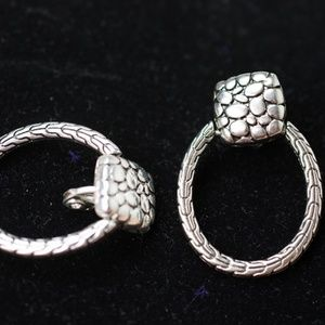 Earrings Silver Clip-On  Snake Skin Pattern Oval